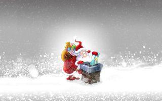 Бесплатные фото дед мороз,на крыше,дома,разносит подарки,детям,рисованный,новый год