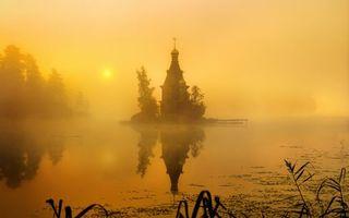 Бесплатные фото деревья,озеро,туман,солнце,церковь,часовня,отражение