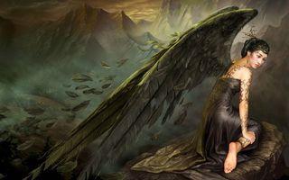 Бесплатные фото девушка,татуировки,крылья,перья,горы,аниме