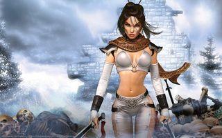 Бесплатные фото девушка,воин,мечи,черепа,развалины,ливчик,аниме
