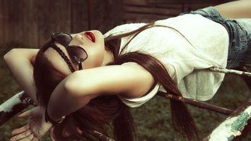 Фото бесплатно девушка, фото, очки