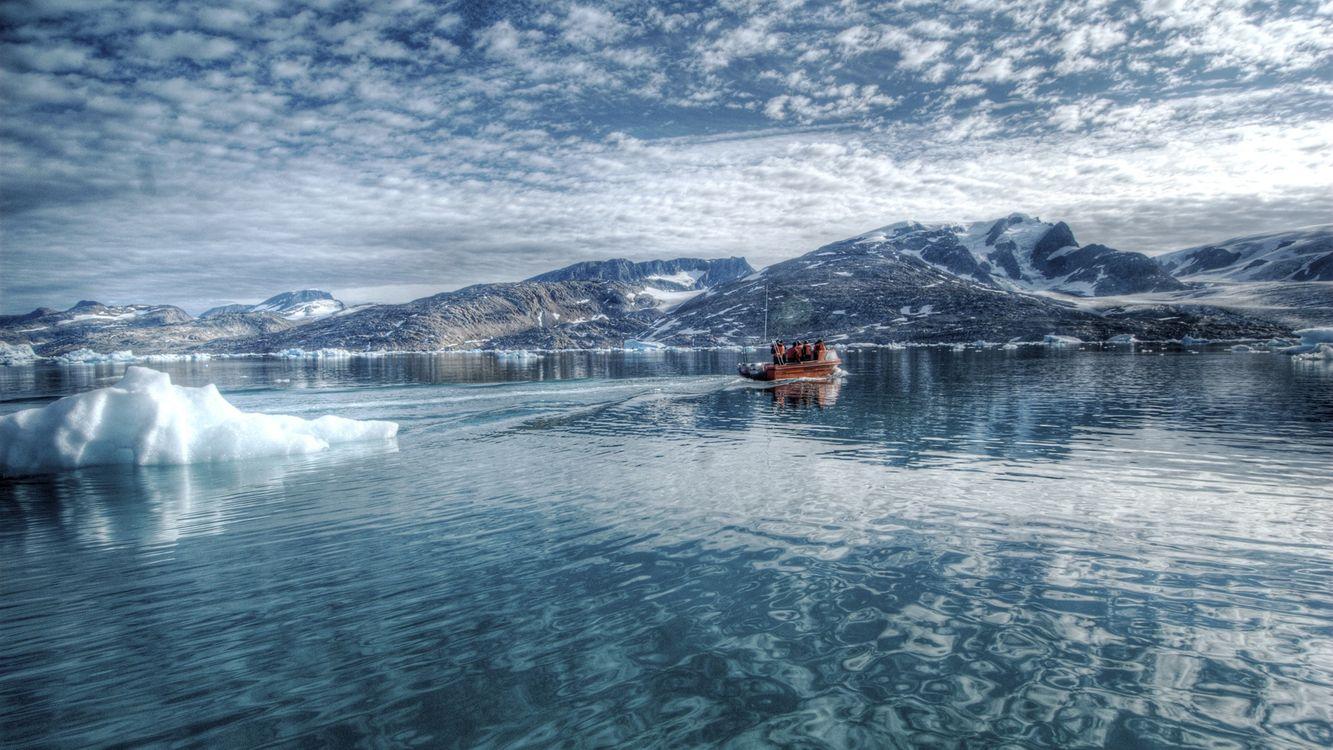 Фото бесплатно горы, небо, океан, лед, корабль, облака, отражение, люди, природа, природа