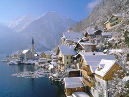 Фото бесплатно крыши, озеро, снег