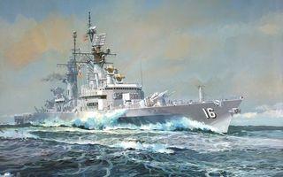 Заставки корабль,море,океан,вода,волны,флаги,антенна