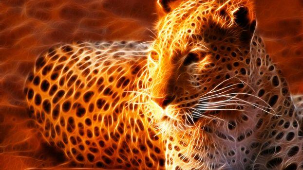 Бесплатные фото леопард,компьютерный,рисунок,графика,обои,заставка,3d графика