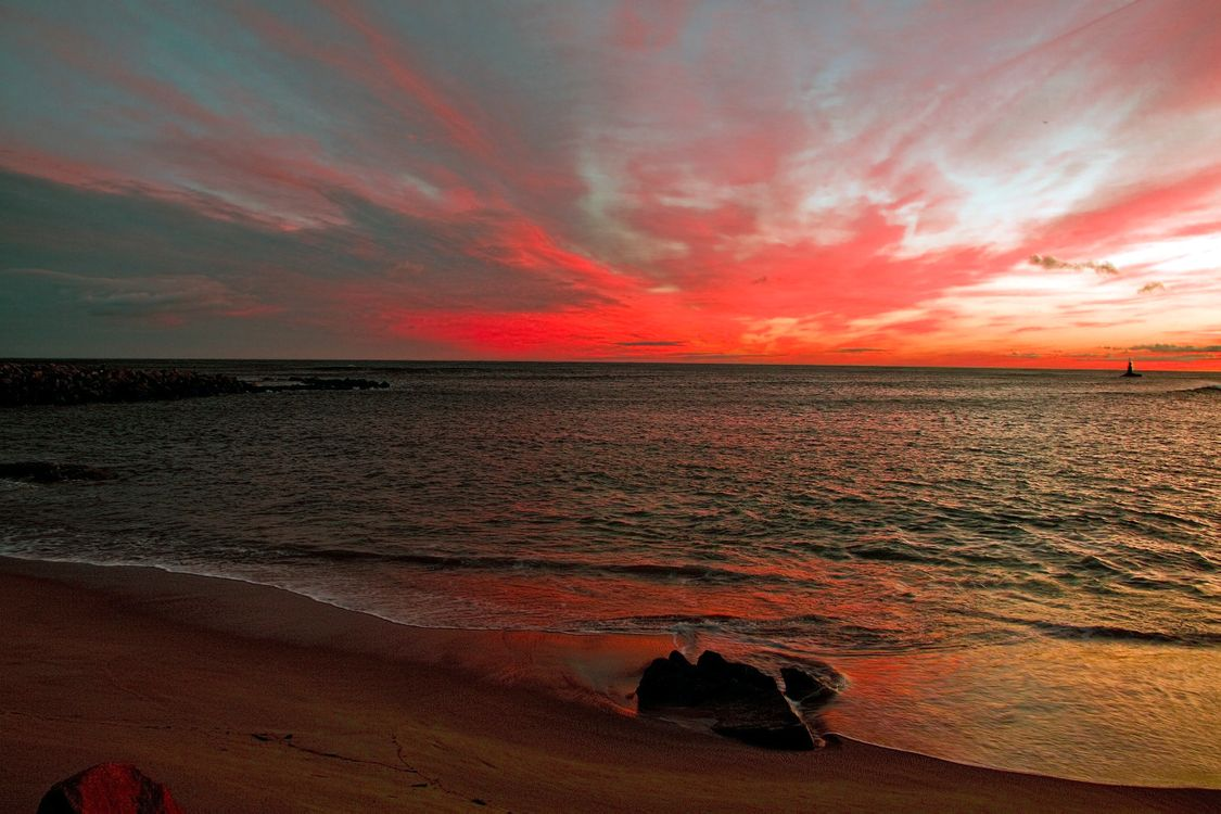 Фото бесплатно море, пляж, закат, пейзажи, пейзажи
