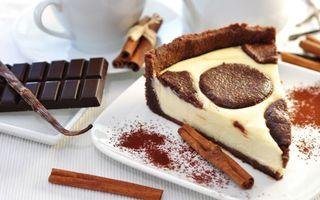 Бесплатные фото пирог,торт,шоколадка,корица,тарелка,какао,чашка