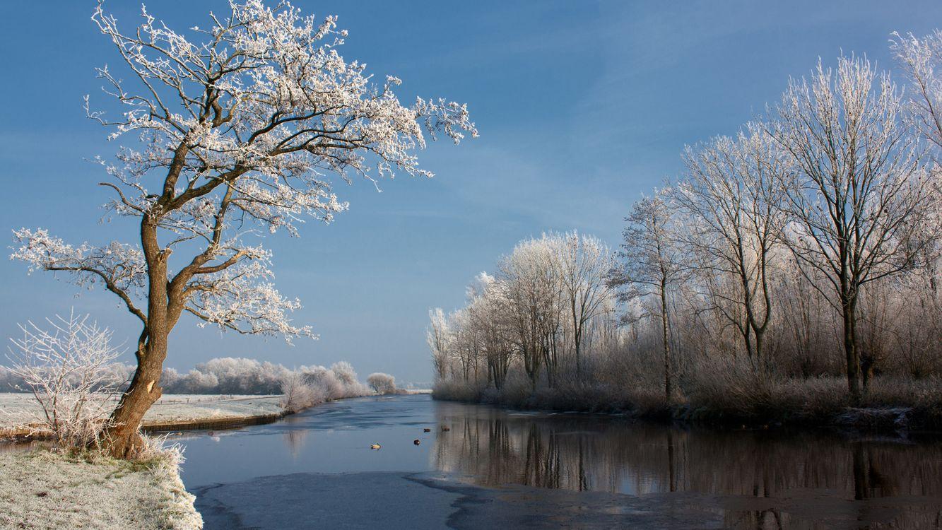 Обои река, зима, небо картинки на телефон
