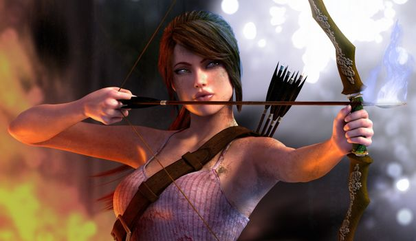 Photo free tomb raider, lara croft with bow, arrows