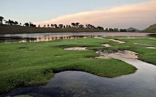 Фото бесплатно трава, вода, лужи, озеро, деревья, небо, закат