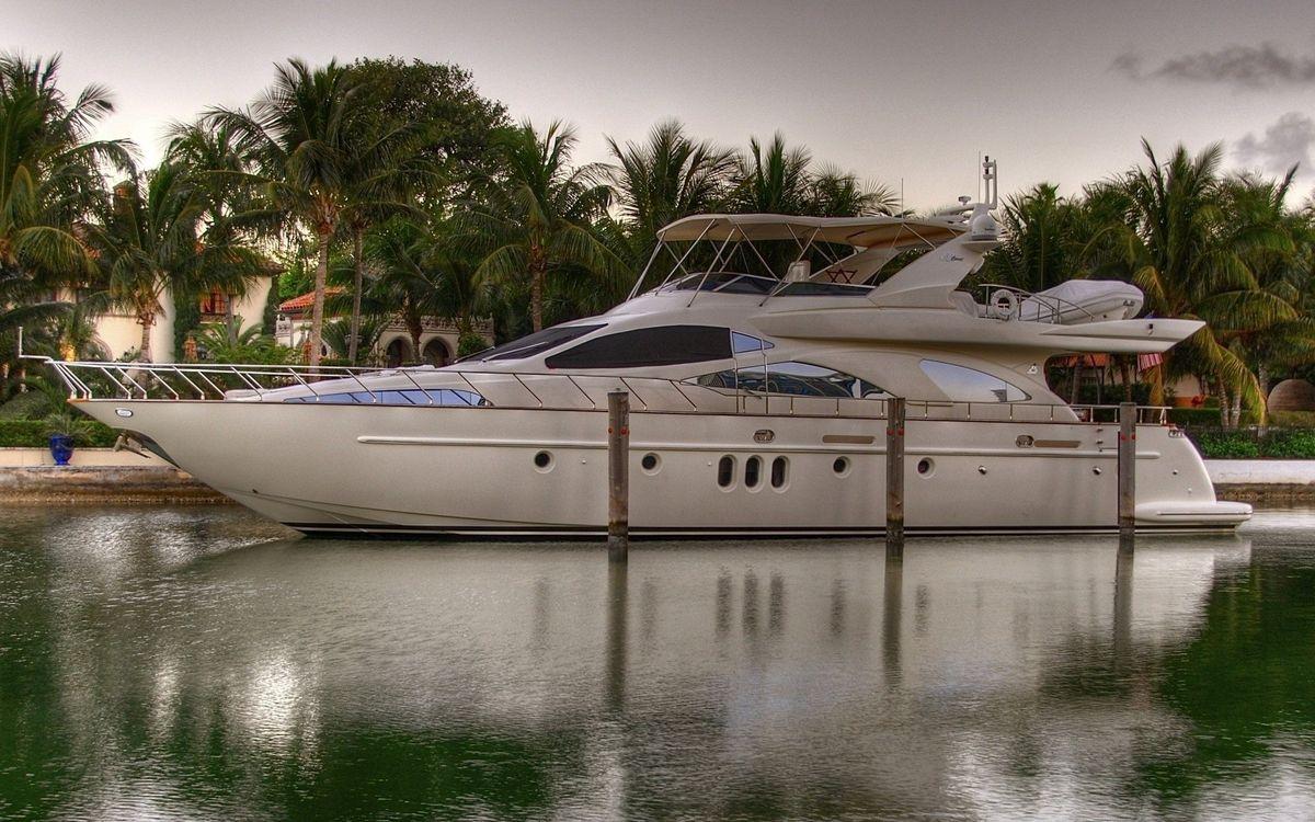 Фото бесплатно яхта, пальмы, дома - на рабочий стол