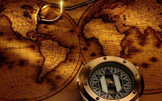 Photo free map, antique, compass