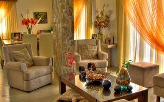 Бесплатные фото вазы,комната,кресла,цветы,пуфик,мебель,подушки