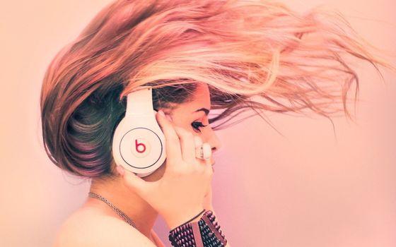 волосы, наушники, музыка, девушка