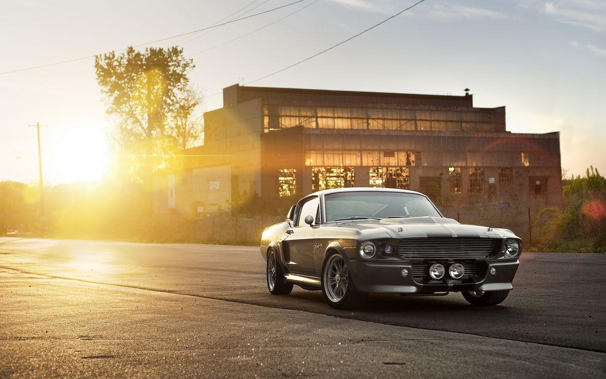 Фото бесплатно ford, mustang, shelby, gt350, 1965, мокрый, асфальт, две, полоски, трасса, закат, солнце, машины, машины