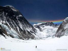 Фото бесплатно снег, Радуга, горы