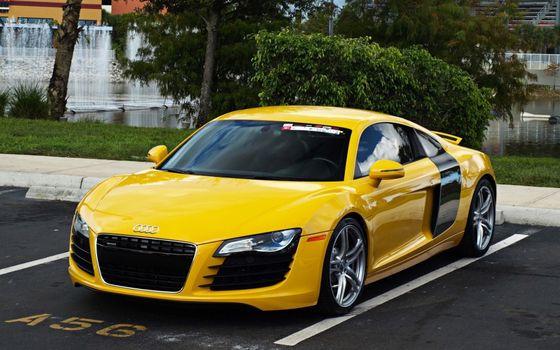 Бесплатные фото audi,ярко-жёлтое,дорога,машины