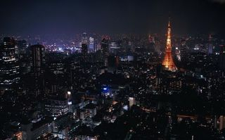 Заставки франция, париж, эйфелева башня, здания, дома, улица, вид, ночь, свет, огни, небо, темнота