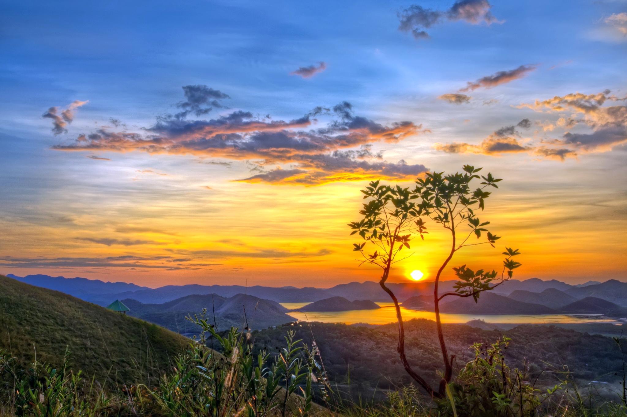 обои горы, озеро, закат, природа картинки фото