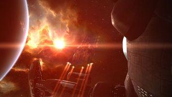 Фото бесплатно космический, корабль, звездолет, планета, звезда, туманность, млечный, путь, новые миры, фантастика, космос