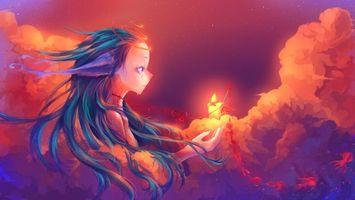 Бесплатные фото кровь,девушка,волосы,небо,звезды,тучи,аниме