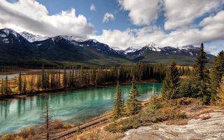 Бесплатные фото река, железная, дорога, деревья, горы, снег, небо