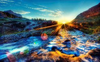Заставки скалы, камни, река