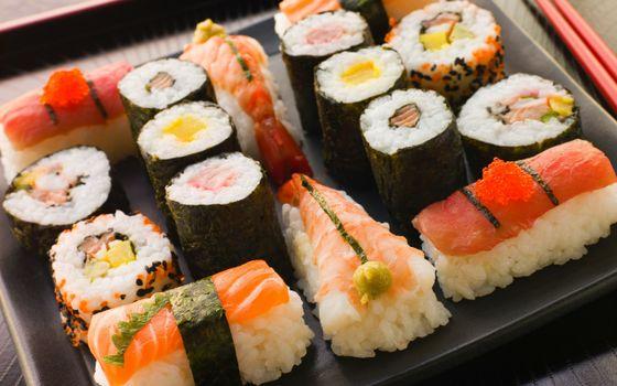 Бесплатные фото суши,роллы,рыба,рис,икра,еда