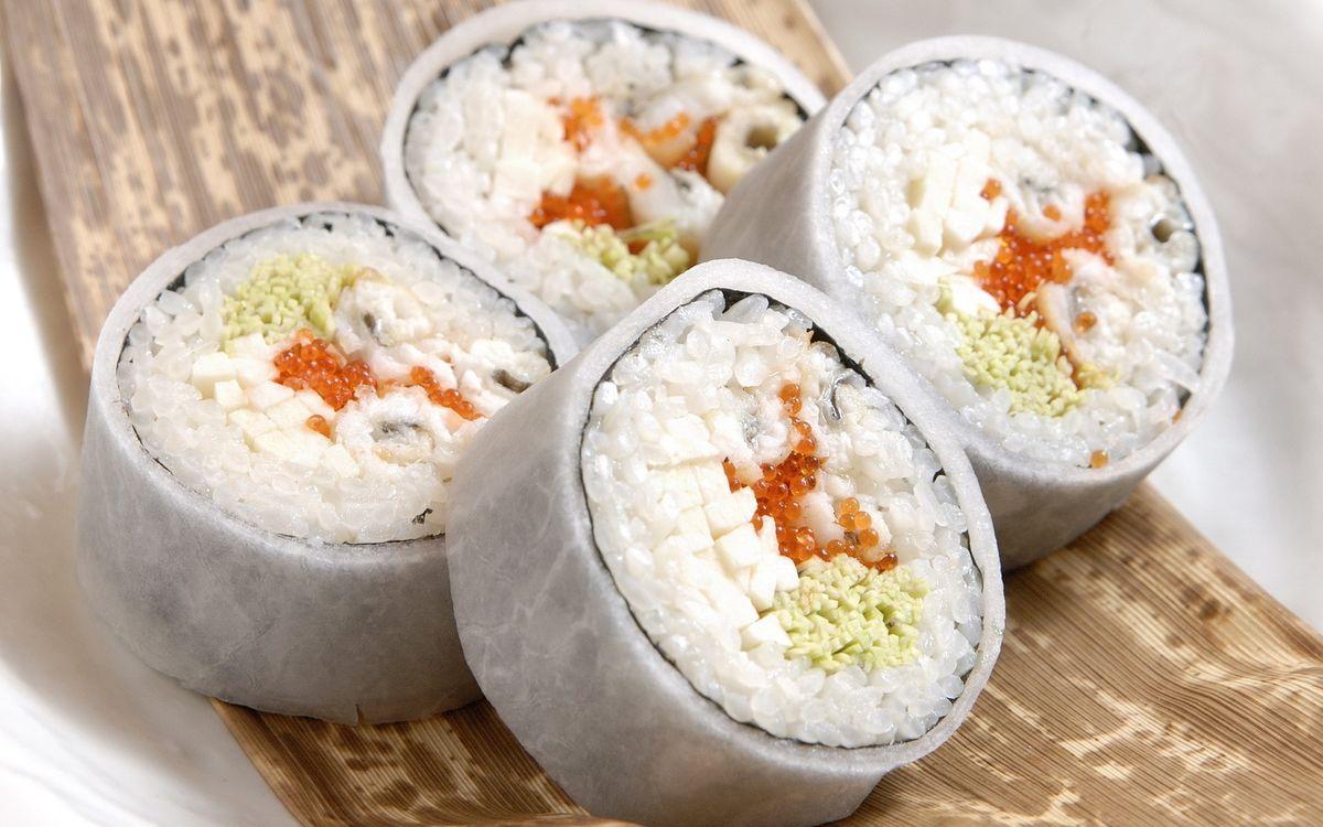 Фото бесплатно суши, роллы, рис - на рабочий стол