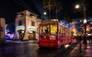 Фото бесплатно трамвай, рельсы, дома