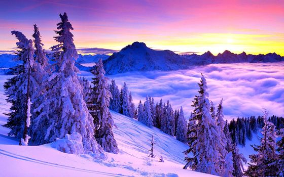 Заставки зимний горный пейзаж, сугробы, елки