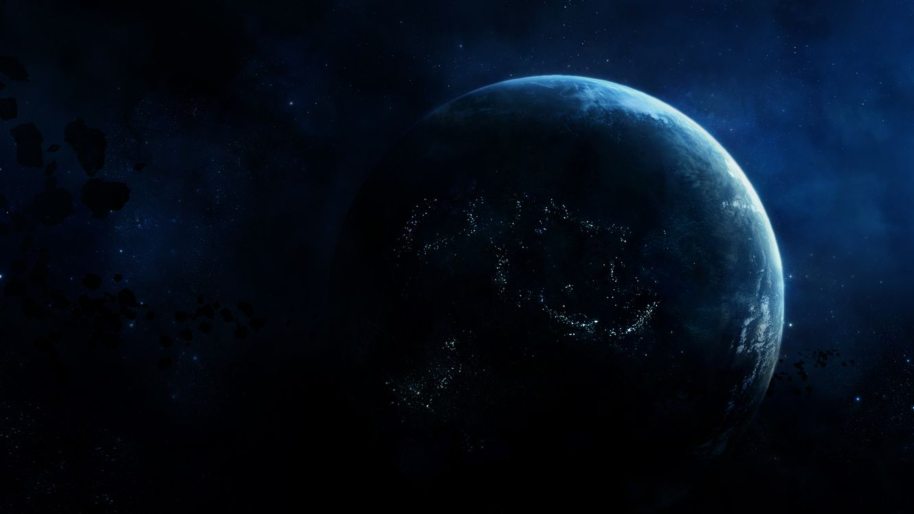 Фото бесплатно космос, планета, астероиды, огни, звезды, разное