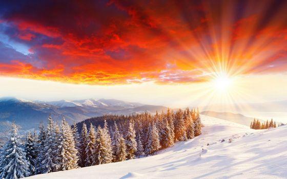 Фото бесплатно закат, зимой, горы