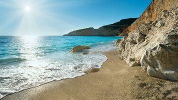 Бесплатные фото берег,камни,песок,море,волны,небо,солнце