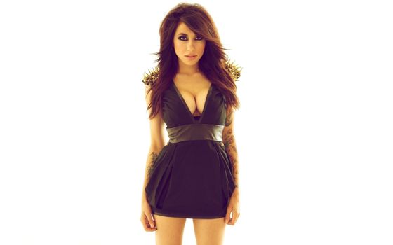 Photo free brunette, dress, black