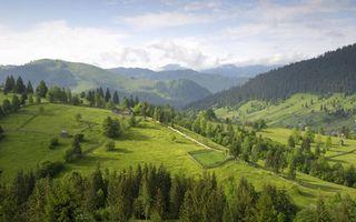 Бесплатные фото долина,горы,небо,деревья,трава,дом,природа