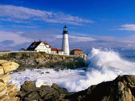 Фото бесплатно дома, маяк, вода
