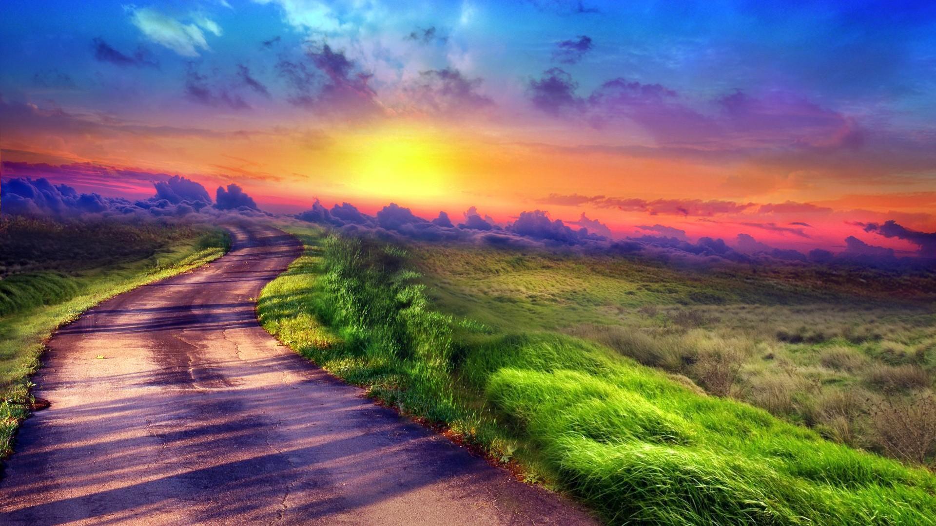 Поле дорога небо закат бесплатно