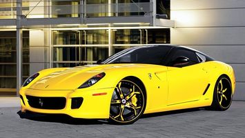 Обои ferrari, тюнинг, жёлтый, машины