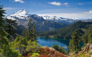 Заставки горы, вода, снег, деревья, елки, сосны, иголки, холмы, вершины, пейзажи, природа