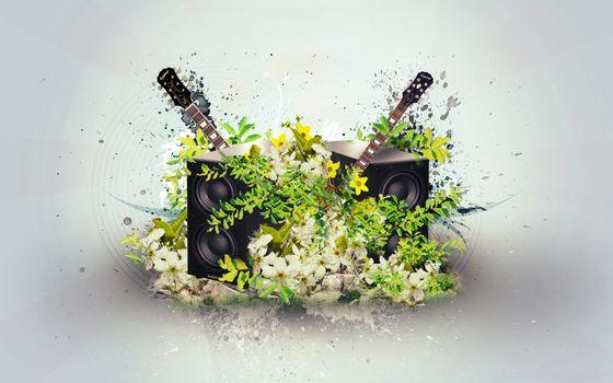 Бесплатные фото колонки,цветки,лепестки,заставка,обои,фон,серый,гитара,спицы,музыка,рендеринг