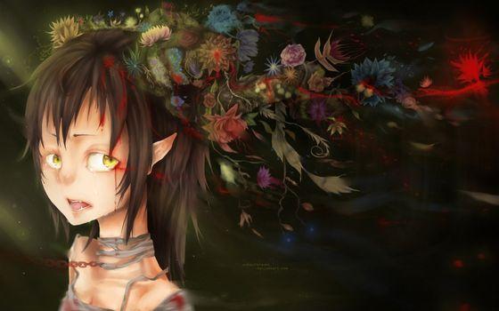 Бесплатные фото кровь,взгляд,глаза,цветы,уши,аниме