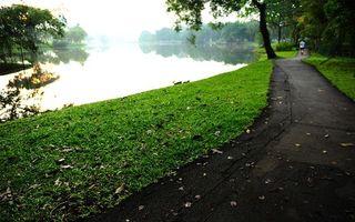 Фото бесплатно парк, озеро, деревья, газон, листва, дорожка, бегун, разное
