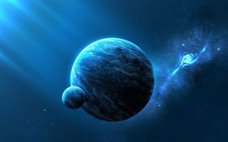 Обои планета, спутник, луна, новые миры, галактики, космос, рендеринг