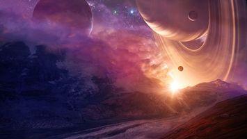 Фото бесплатно планеты, спутники, кольца