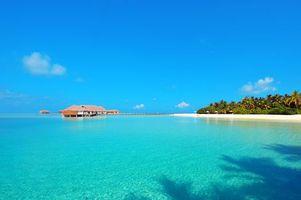 Фото бесплатно пляж, Мальдивы, бунгало
