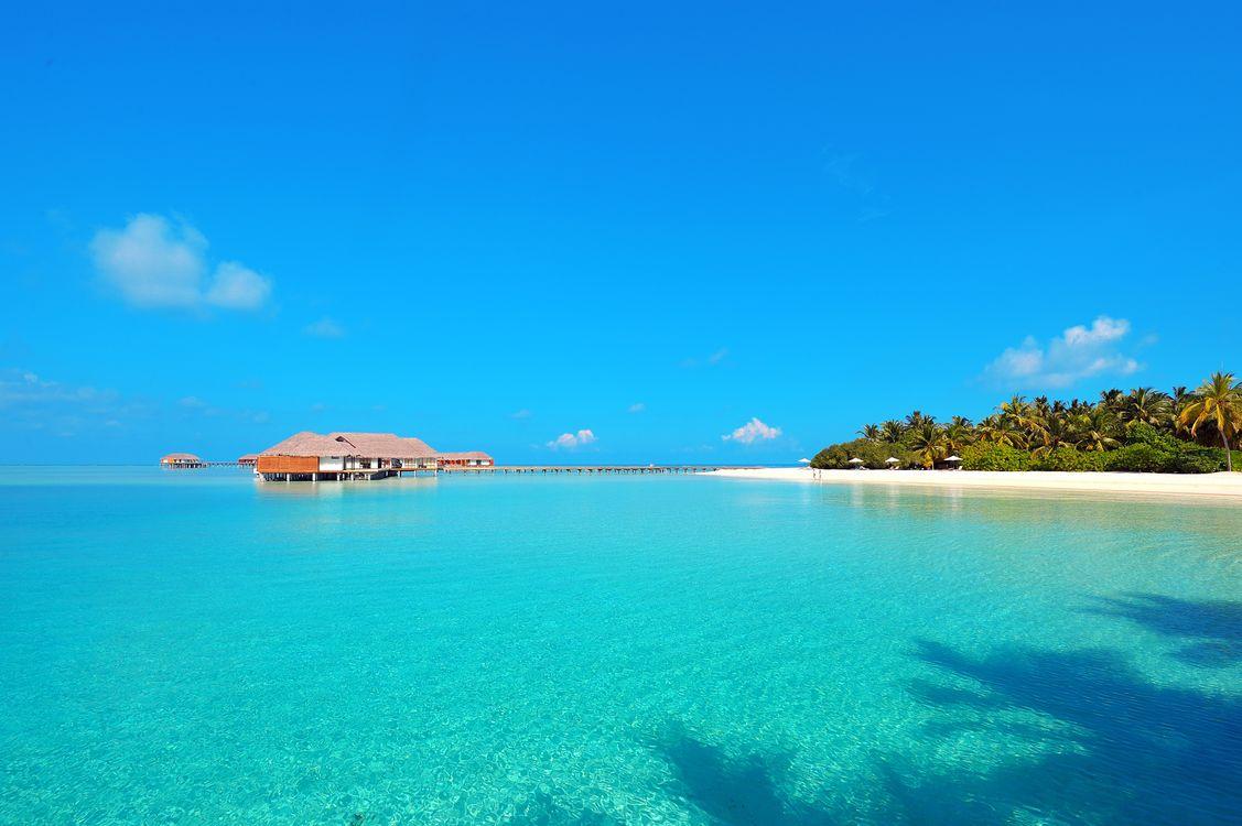 Фото бесплатно пляж, Мальдивы, бунгало - на рабочий стол