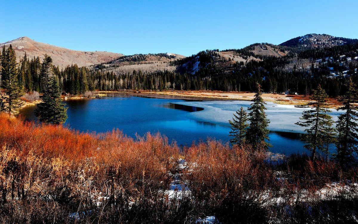 Фото бесплатно вода, река, озеро, снег, лед, горы, деревья, лес, природа, природа