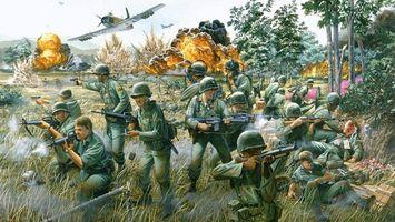 Заставки война, солдаты, самолет, огонь, оружие, взрыв, аниме