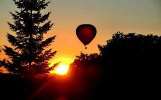 Бесплатные фото закат,солнце,небо,воздушный,шар,деревья,пейзажи